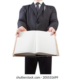 business man holding book blank isolate on white background with clipping path