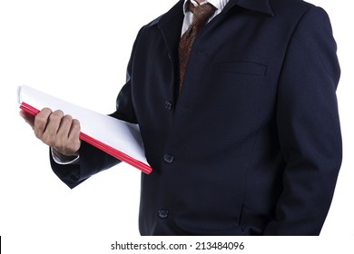 Business man holding book isolated on a white background