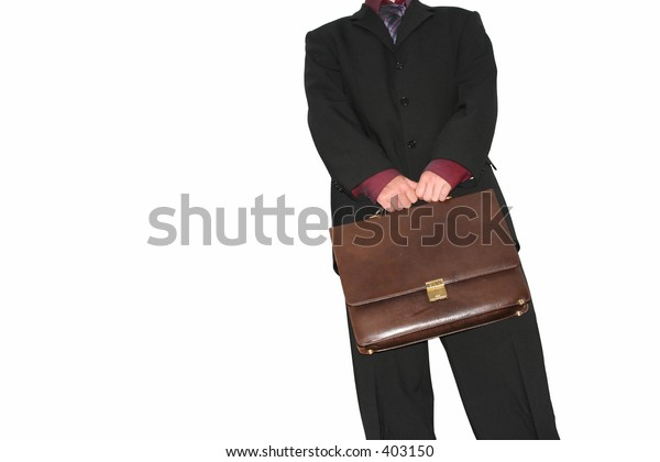 business man holding briefcase, isolated on white