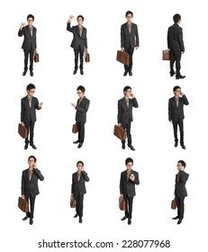 Business man holding briefcase and smart phone isolated on white background
