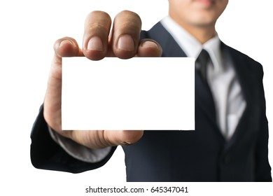 Business man holding Business card on white background isoleat.