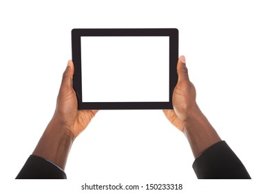 Business Man Holding Digital Tablet On White Background