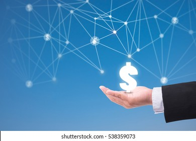 Business man holding dollar symbol.futuristic technology money network connection concept.