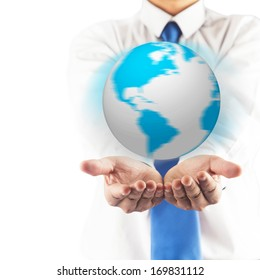Business man holding the earth globe