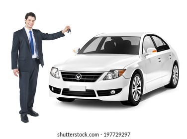 Business Man Holding a Key of the White Car