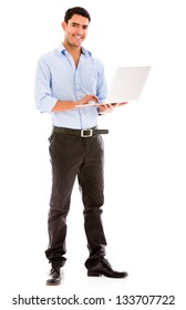 Business man holding a laptop - isolated over a white background