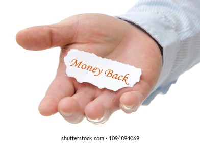 Business man holding money back note on hand