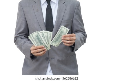 business man holding money isolate