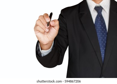 Business man holding a pen isolated on white background