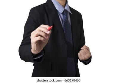 Business man holding pen writing isolated on white background.