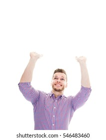 business man holding something up over a white background