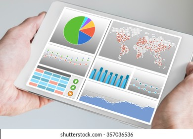 Business man holding tablet with dashboard in his hand. Dashboard displays KPIs and charts in order to monitor and control a company
