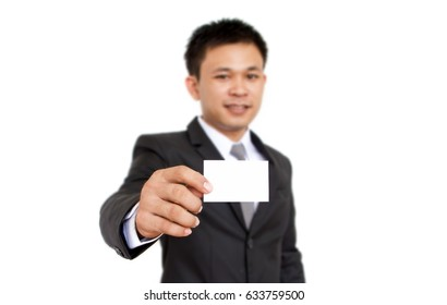 business man holding white card isolated on white background