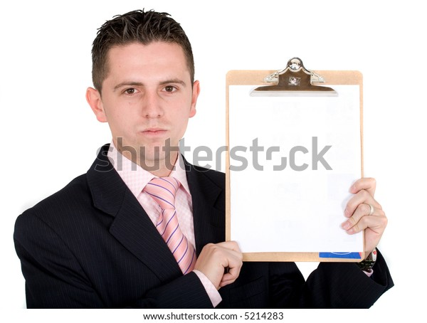 business man holding a writing pad over a white background