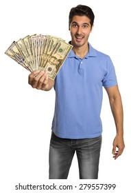 Business man holding/showing Dollar banknotes