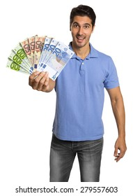 Business man holding/showing Money Euro banknotes