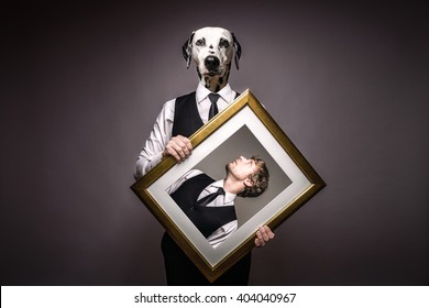 Business Man And Human Dog In Black Suit