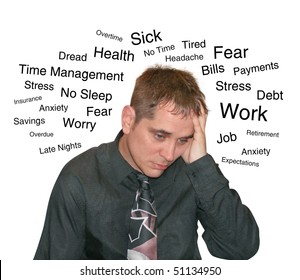 A business man is isolated on a white background and has text describing his worries and fears from work to debt.