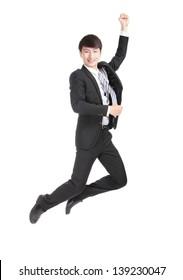 Business man jump  cheerful, asian man
