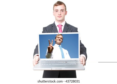 Business man with a laptop