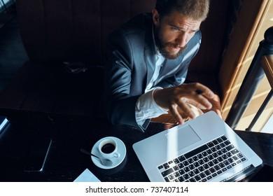 business man, laptop, cafe