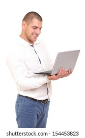 business man with a laptop in hand