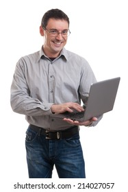 Business man with laptop - isolated over a white background