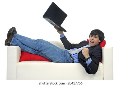 Business man with laptop isolated in white