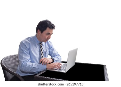 Business man with a laptop on isolated background