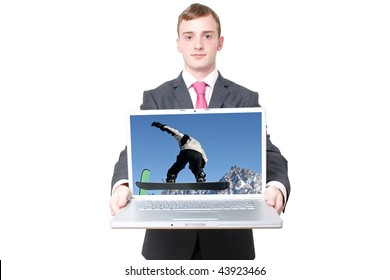 A business man with a laptop open