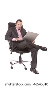 A business man with laptop over white background