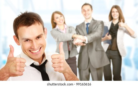 Business man leading a successful corporate group