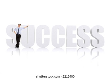 business man leaning on the word success over white