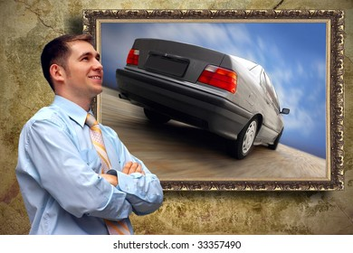 Business man look on picture with car on the grunge background