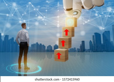 business man look way to growth path to the target dart with business wire frame including 5g, machine ,deep learning, digital twin, artificial intelligence, industry 4.0, concept
