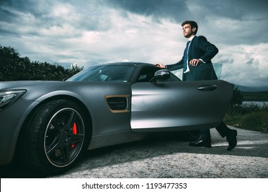 Business man in luxury car