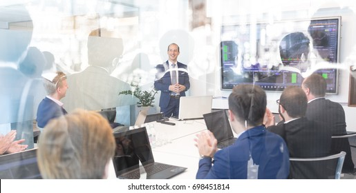 Business man making a presentation at office. Business executive delivering a presentation to his colleagues during meeting. Collage double exposure abstract photo. Global business concept.