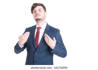 Business man or manager standing and posing arrogant  making gesture with hands isolated on white background