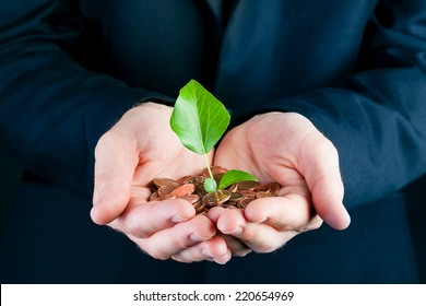Business man or manager in suit holding seedling in his hands. the  soil is made of coins