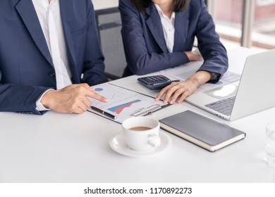 Business man meeting or discuss in offcie with tablet and notebook.