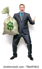 Business man with money bag. The lucky winner. Financial Investments. Profit.