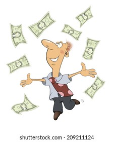 A business man with money cartoon