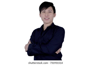 Business man with navy blue shirt has happy and smile with hard work. Business man isolated on white background.