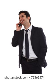 Business man negotiating on phone, isolated on white
