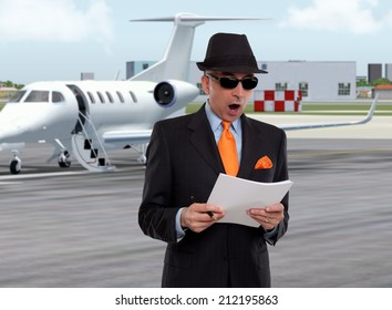 Business man next to a private jet looking surprised