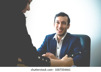 Business Man office worker is smiling in team meeting and job interview