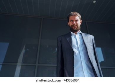 business man on building background