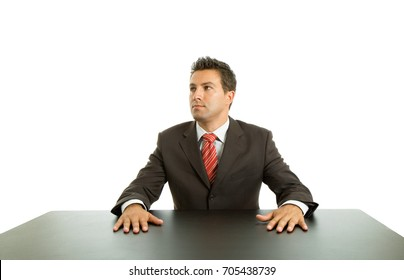 business man on a desk thinking, isolated on white