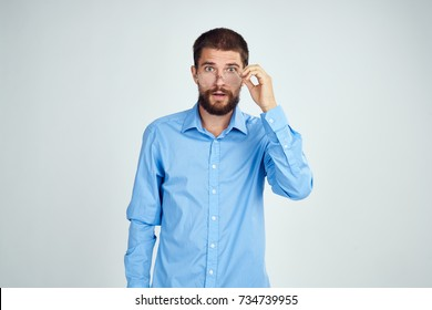 business man on a light background studio