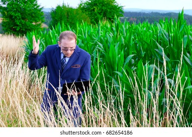Business man on nature in field
